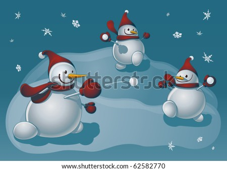 Snowmen playing snowballs - stock vector