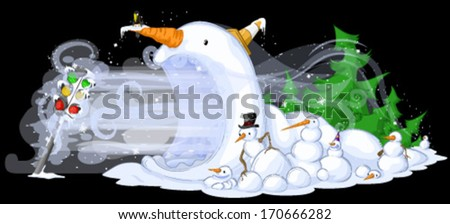 Snowmen Traffic Freeze  - stock vector