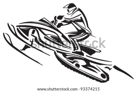 how to draw a cartoon snowmobile