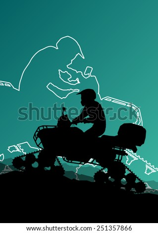 Snowmobile all terrain quad motorbike vehicle rider in wild nature snow and ice abstract landscape background illustration - stock vector