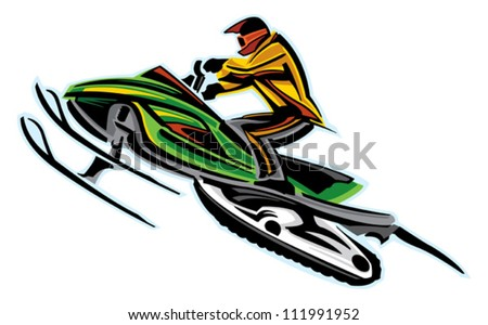 Snowmobile jumping - stock vector