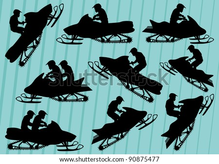 Snowmobile motorbike silhouettes illustration collection background - stock vector