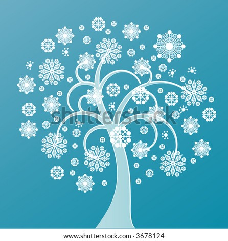 snowtree three vector - stock vector