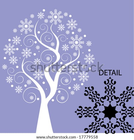 snowtree with coils - stock vector
