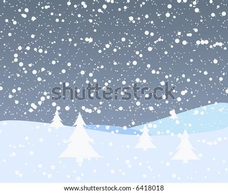 Snowy Christmas Vector Background - stock vector