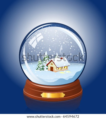 Snowy glass ball with a home within - stock vector