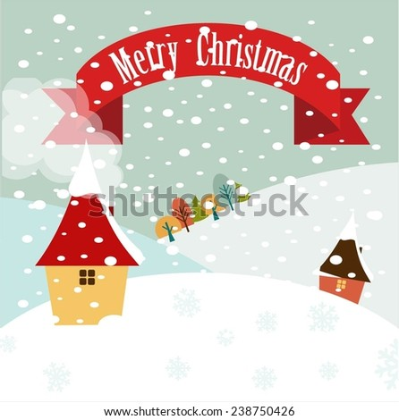 snowy hills with houses and the inscription Merry Christmas illustrations - stock vector