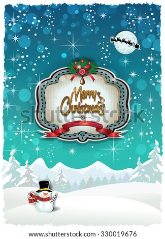 Snowy landscape at Christmas with Santa's sleigh-Transparency blending effects and gradient mesh- Various levels EPS 10 - stock vector