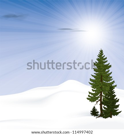 snowy landscape with bright sunshine - stock vector