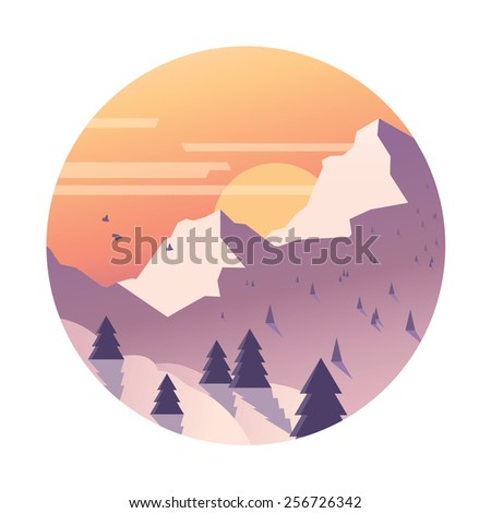 Snowy mountain range with sun. - stock vector