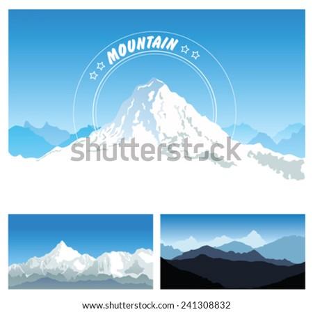Snowy mountains - stock vector