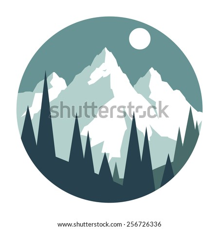 Snowy mountains. - stock vector