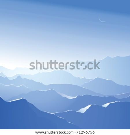Snowy mountains. Vector landscape - stock vector