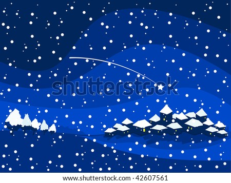 Snowy night landscape of great Christmas atmosphere, vector