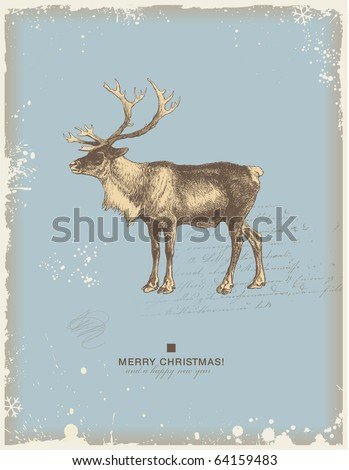 snowy retro christmas/winter background or greeting card with reindeer - stock vector