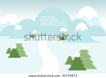 Snowy winter landscape with mountains and trees - stock vector