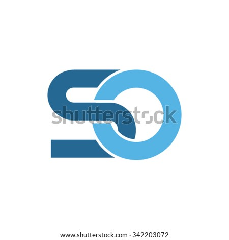 SO letters connected in one organic shape - stock vector