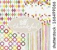 So thankful colorful argyle diamond circles dots stripes geometric seamless pattern set with oval frame on white background - stock