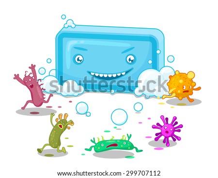 Soap bar makes the bacteria run away. Illustration for sanitary placard. - stock vector