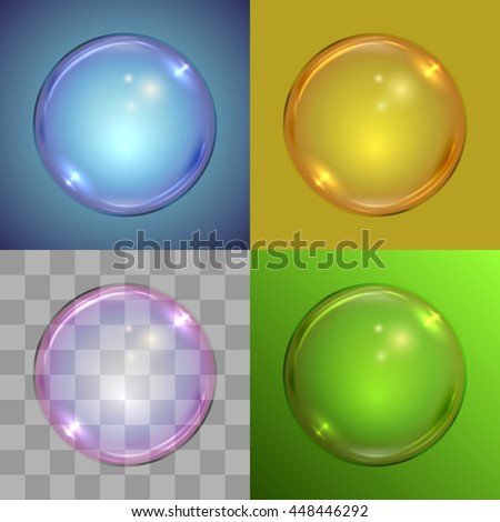 Soap bubble vector template on different backgrounds, radial gradient, solid color, checker, linear gradient. - stock vector
