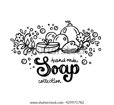 soap label logotype logo design hand stock vector 429971782