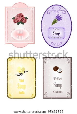 Soap stickers with scratches - stock vector