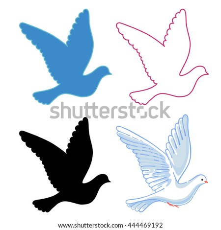 Soaring dove, vector illustration isolated on background