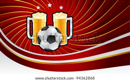 Soccer and beer banner - stock vector