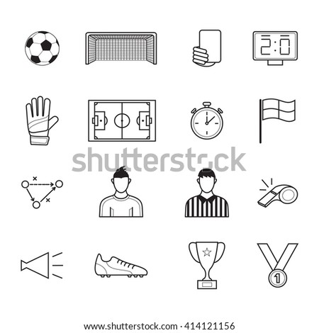 Soccer and football emblems for sport and championship design .Football   icons set.   - stock vector