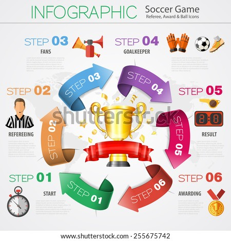 Soccer and Football Infographics in Realistic 3D and Flat Style with Award, Ball and Referee Icons. Vector Illustration. - stock vector