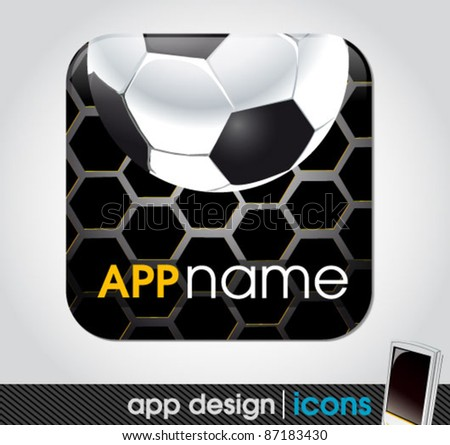 soccer and sports app icon for mobile devices - stock vector