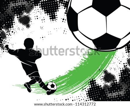 Soccer Background With Boy Shooting