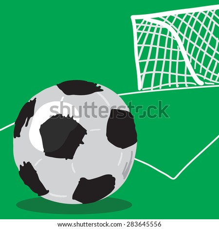 Soccer ball and goal vector.