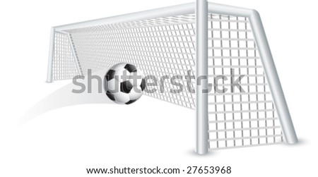 soccer ball and net - stock vector