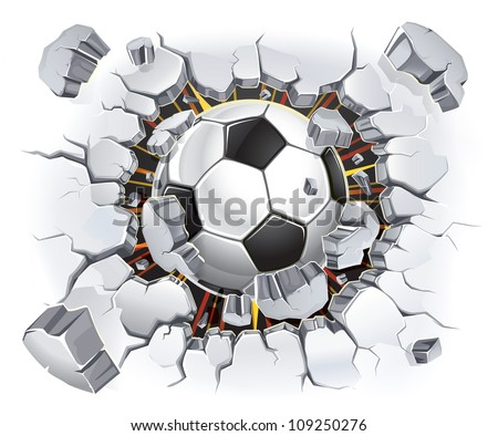 Soccer ball and Old Plaster wall damage. Vector illustration - stock vector