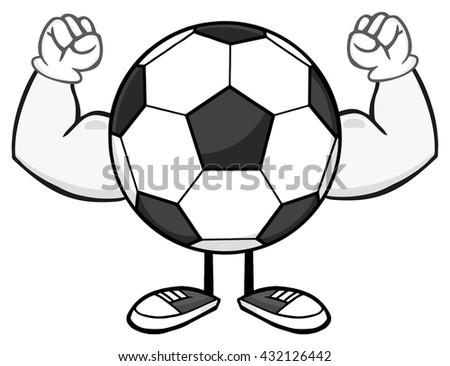 Soccer Ball Faceless Cartoon Mascot Character Flexing. Vector Illustration Isolated On White Background - stock vector