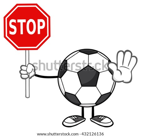 Soccer Ball Faceless Cartoon Mascot Character Gesturing And Holding A Stop Sign. Vector Illustration Isolated On White Background - stock vector