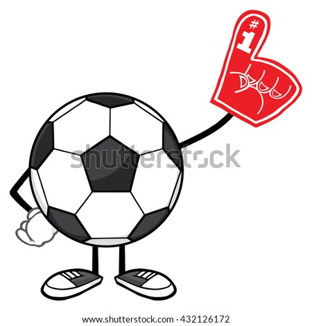 Soccer Ball Faceless Cartoon Mascot Character Wearing A Foam Finger. Vector Illustration Isolated On White Background - stock vector