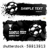 Soccer ball (football) on grunge background with paint splatters and drips - stock vector