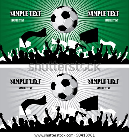 Soccer ball (football) with silhouettes of fans - stock vector