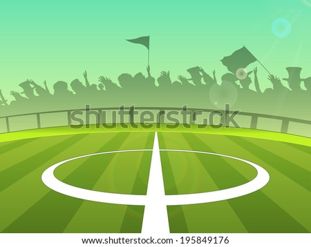 Soccer ball ground and silhouette of cheering up audience.  - stock vector