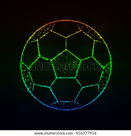 Soccer Ball Illustration Icon, Gradient Color Lights Silhouette on Dark Background. Glowing Lines and Points - stock vector