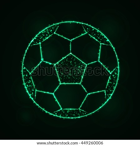Soccer Ball Illustration Icon, Spring green Color Lights Silhouette on Dark Background. Glowing Lines and Points. Football Ball. Football Ball. Football Ball. Football Ball. Football Ball. Football. - stock vector