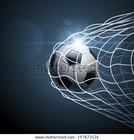 Soccer ball in goal. Vector - stock vector