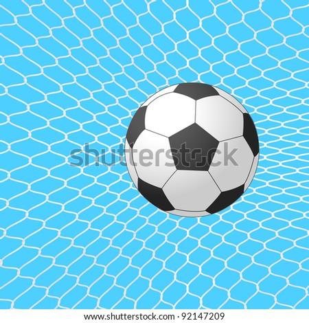 Soccer ball in goal. Vector. - stock vector