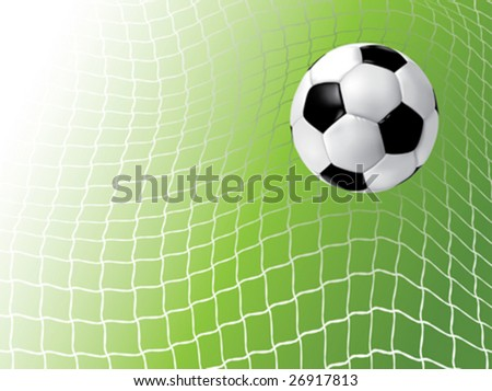 Soccer ball in net - stock vector