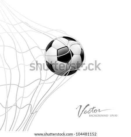 Soccer ball in net. isolated on white background, vector illustration - stock vector