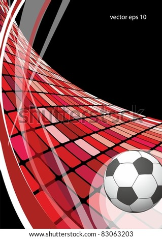 soccer ball in the red wave - stock vector