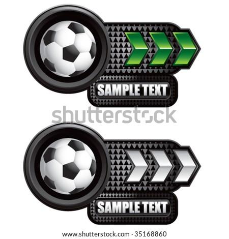 soccer ball on arrow banners - stock vector