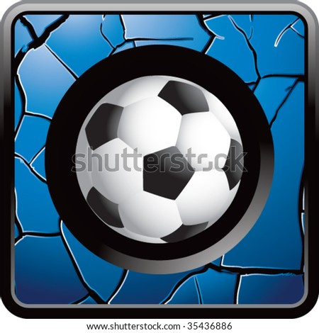 soccer ball on cracked web icon - stock vector